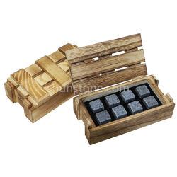 Kundenspezifische Form-Whisky-Felsen stellten hölzerner Kasten-Whisky-kühlende Steine für Weihnachtsförderung-Geschenk-Sets ein