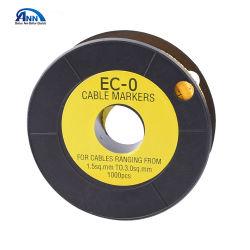 EC タイプ PVC 黄カラーケーブルマーカー、ケーブルマーキングラベルリールロール、 2.5mm2 ワイヤ用