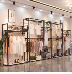 Metall und Holz Mode Kleidung Kleiderständer Supermarkt Regal Promotion Display und Regal für Bekleidungsgeschäft