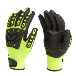 Palma con recubrimiento de nitrilo de espuma anti impacto y la seguridad laboral protectora antivibración guante con TPR en el dorso y los dedos