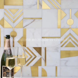 300X300 белого мрамора Waterjet мозаики на стене оформление пола