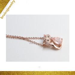 형식 925 순은 로즈 석영 분홍색 금에 의하여 도금되는 보석 목걸이를 가진 펀던트 목걸이 숨막히게 하는 것 목걸이 세트