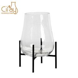 La decoración del hogar moderno florero de vidrio con soporte de metal
