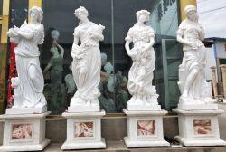 Jardín/Indoor/Figura/Dama/Piedra escultura estatua de mármol de la temporada cuatro