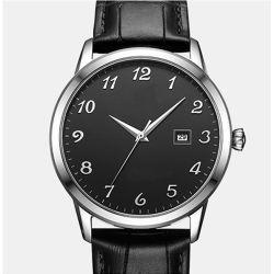 Het Van de Bedrijfs klassieke van de Mens van het Kwarts van het Horloge van de Kalender van het Venster van het Leer van de Riem Mensen van het Horloge Eenvoudige Horloge