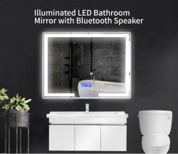 Rectángulo de pared LED iluminado inteligente baño espejo de plata
