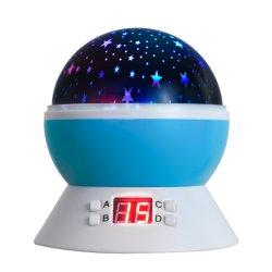 Baby-Nachtlicht für Kind-sternenklare Nachthellen drehenden Mond Stars Projektor-romantisches Nachtbeleuchtung-Lampe USB-Kabel/Batterien