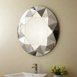 Ronde Silver Mirror Met Decoratieve Spiegel Met Schuine Rand