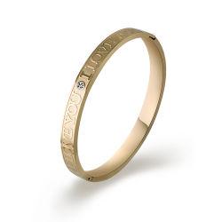 El amor de moda joyas chapado en oro brazalete de acero inoxidable con diamante