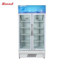 Deux Montant de porte d'affichage vitrine verticale du refroidisseur de boissons