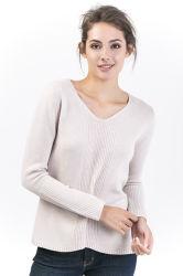 De Wol van de Truien van de Hals van vrouwen V & Kasjmier Gemengde Sweater