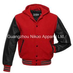 Qualität Mode Einfarbige Kapuzen Wolle Varsity Jacken mit OEM Service