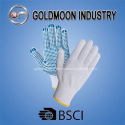 7 Jauge de coton tricotés PVC Gant de travail de la sécurité en pointillés