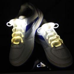 Lacets de chaussure de sport LED Flash Light jusqu'Glow Stick sangle lacets