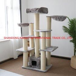 Árvore de gato gatos de árvores de madeira de luxo Cat Scratcher Torre Árvore de árvores de madeira de escalada barata para os gatos