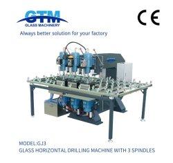 Gj3 Halbautomatische Glas Horizontale Bohrmaschine Waschen Kanten Bleistift Gehrung Sandstrahlen Notching Polieren Verarbeitung Doppelte Kantengravur