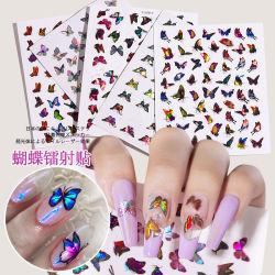 Beleza moda unhas Laser Butterfly adesivo, 3D Manicure Beleza Art Design adesivo produtos acessórios suprimentos