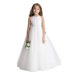 Novo sem mangas Bege Chiffon Longo vestido de Princesa de casamento para crianças
