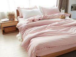 La mode Home Textile 100% coton fils teints avec tissu à armure Round POM POM Ensemble de literie couette défini