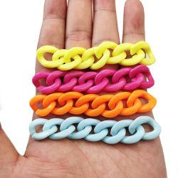 2019 年流行の大きい平らなアクリルプラスチックネックレスハンドバッグの鎖のハンドル、女性袋のためのアクリルの鎖のリンク