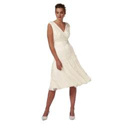تصميم جديدة بيضاء شريط تطريز [ميدي] [بريدسميد] [ودّينغ برتي] ثوب لأنّ سيادات