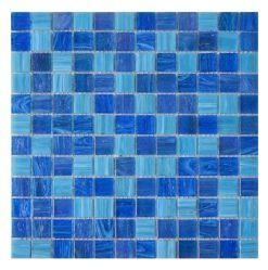 Rückseitiges Spritzen-Ozean-Blau-Quadrat-blaue Glasmosaik-Fliese für Pools