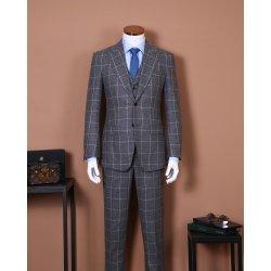 Grey del vestito del plaid del vestito degli uomini Single-Breasted