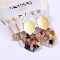Populaires bijoux Set européenne C forme géométrique Hoop Earrings Pearl Earrings Set acrylique Tassel Drop pour les femmes