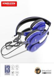 Auriculares con cable Blue 3,5mm con sonido HiFi de graves profundos HD Auriculares de voz compatibles con portátil/Teléfono móvil/MP3/MP4