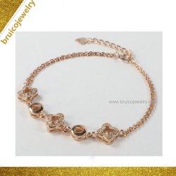 Elegante CZ Diamant Nachahmung Schmuck Armband Großhandel Charme vier Blatt Armband Mit Kleeblatt-Design