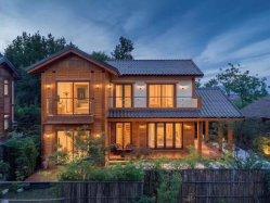 Venta caliente Nuevo Diseño Two-Storey moderna casa de madera de cedro rojo para vacaciones