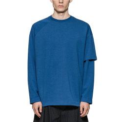 도매 플레인 티셔츠 디자인 맞춤형 비정기 더블 레이어 슬리브 블루 티셔츠