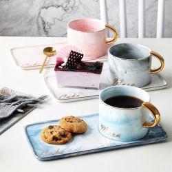 도매 핑크 블루 세라믹 유럽식 티 컵 및 접시 세트