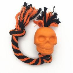 Cuerda de algodón de caucho de Halloween Squeaky juguetes de perro de mascota interactiva