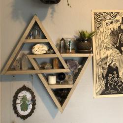Decorazioni personalizzate per la casa-Rustic Shelves doppio Triangolo galleggiante legno Shadowbox (Grigio naturale)