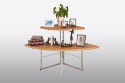 2つの層の木の円形の小売りの表示は現代様式の衣類の陳列台を台に置く