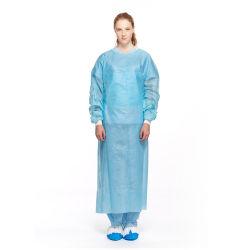 Sans latex jetables résistant au fluide de l'isolement des blouses imperméables dentaire pouce Secure bleu ou jaune robe de chimio Spunlace CPE avec poignets tricotés Capot Chaussures