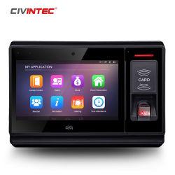 Senha do cartão de identificação do sistema de relógio de tempo biométrico de impressão digital com ecrã TFT de 7 polegadas suporta download de uma unidade flash USB