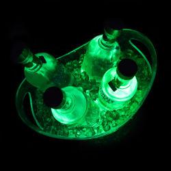 Discothèque Hot Vente de bière de lumière LED Flash seau à glace/seau à glace en plastique avec LED