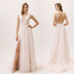 Uma linha de vestidos de casamento punhos reforçados Beach Garden Viajando Rosa vestido de casamento H19126