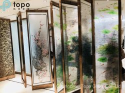 Het kleurrijke Schilderen van het Glas van de Muur van de Bloem van Lotus voor de Achtergrond van het Huis (pg-TP005)