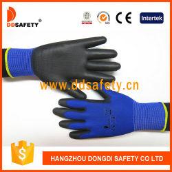 Jauge 13 Doublure en nylon et polyester bleu. Mixed poignet. Enduit PU noir sur Palm/doigt.