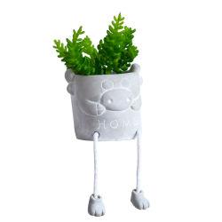 Творческие мультфильм подвесная кукла помещение украшено зелеными растениями гостиной цемента бонсай имитация дома оформление