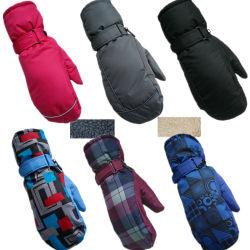Les hommes et femmes Multi-Color Lamb-Like du doigt de gants de ski intérieure de la laine et Rainproof à deux doigts et des gants de coton à chaud