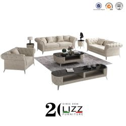 BRITISCHES klassisches Entwurfs-Samt-Gewebe-Wohnzimmer-Set-Chesterfield-Sofa