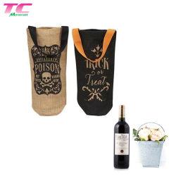 La bottiglia di vino naturale della iuta trasporta il sacchetto con la singola maniglia per il marchio personalizzato di viaggio