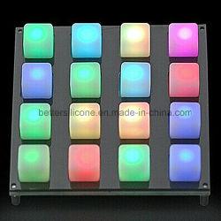 Música LED 4X4 Teclado de borracha de Silicone translúcido