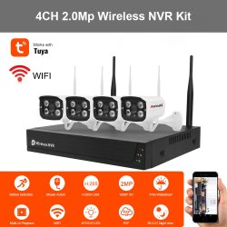 Tuya Anxinshi 4CH 2.0MP 무선 4 채널 WiFi NVR 보안 IP 초고속 카메라 실내 세트