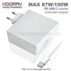 85W 87W Alimentation à commutation Pd-Type C C USB chargeur adaptateur secteur universel QC3.0 DC 5V 9V 12V 15V 20V Chargeur pour ordinateur portable pour les nouveaux Mac nous fiche adaptateur de l'UE