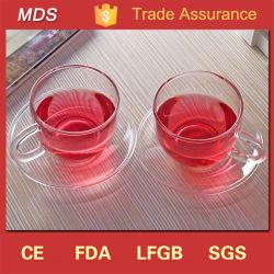Alta Qualidade Teacup Borosilciate de vidro transparente e Pires Definido